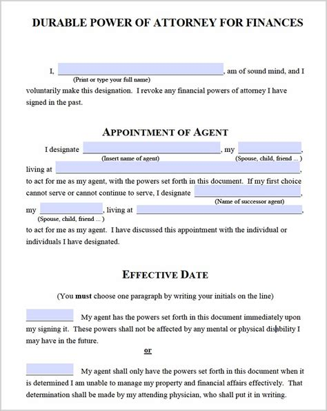 durable power of attorney form durable power of attorney form michigan form resume