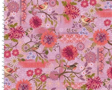 Quilt Fabrics by Cotton Quilt Fabric Meadowlark Pink Violet Bird
