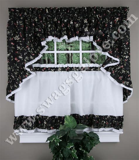 cherries ruffled kitchen curtains cafe tiers swags