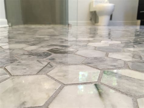 hexagon carrara marble tile floor for your bathroom what