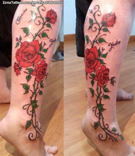 climbing rose tattoo tatuaje de rosas flores enredaderas leg tattoos