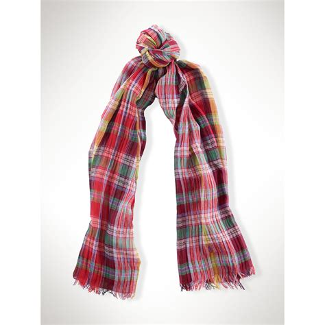 polo ralph cotton madras scarf in lyst