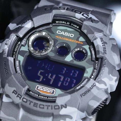 Casio G Shock Camouflage Series 2014 Gd 120cm 4dr Limited Edition casio g shock grey camouflage patterns digital gd 120cm 8 watchain