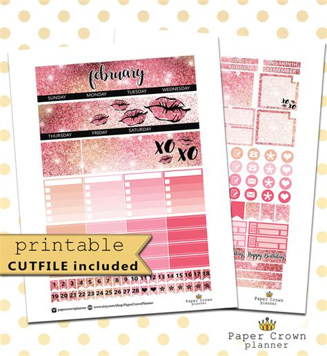 printable planner monthly view february monthly view printable planner stickers for use with