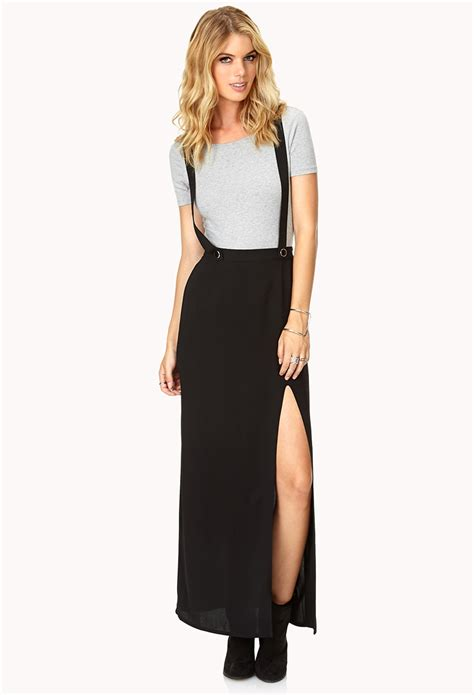 Maxi Overall 1 forever 21 modernist overall maxi skirt in black lyst