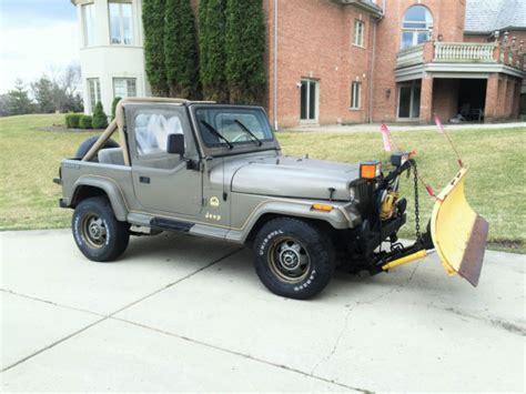 jeep wrangler plow 1989 jeep wrangler yj 4x4 4 2l inline 6 cylinder