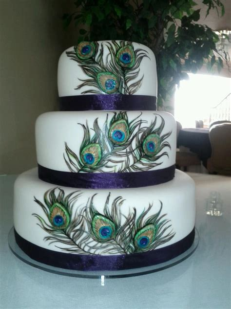 Peacock Feather Cake Decorations by Wedding Cakes By Dawna October 2011