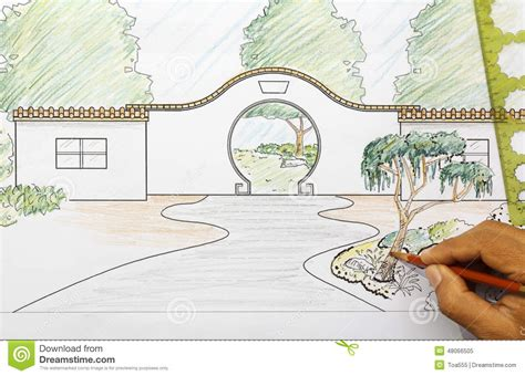 layout plan in chinese chinese garden design plan stock image image of tree