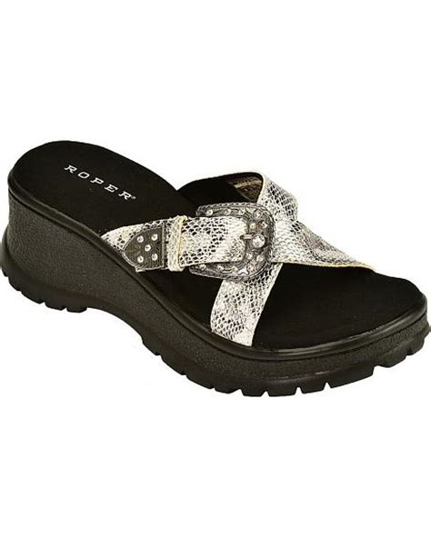 roper sandals roper metallic cross with buckle wedge sandals
