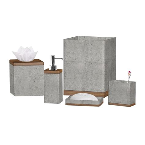 stonington concrete stone  piece bathroom accessory set