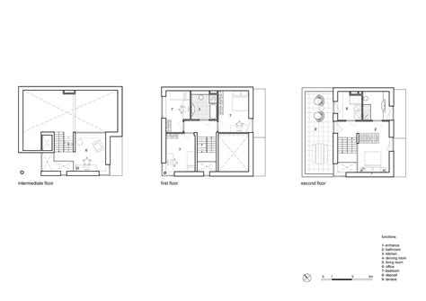 two level floor plans informal cube minimal urban house in white with a multi
