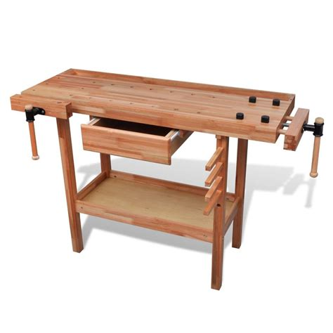 workers bench vidaxl co uk hardwood carpentry work bench with drawer 2