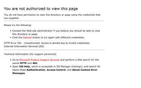 you are not authorized to view this page quot you are not authorized to view this page quot error message