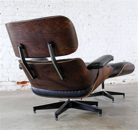 vintage herman miller eames lounge chair  ottoman  black leather  rosewood  sale
