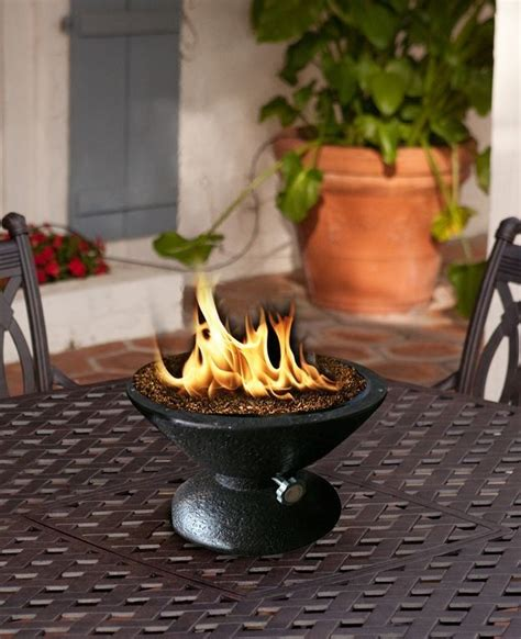 tabletop firepit and original decoration of a table place
