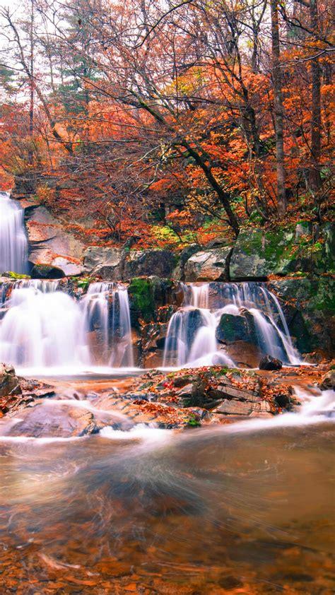 wallpaper waterfall autumn  nature