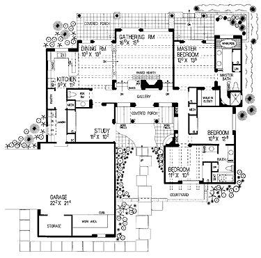 Adobe House Plans With Courtyard Style Courtyard Hwbdo00928 Adobe House Plan From