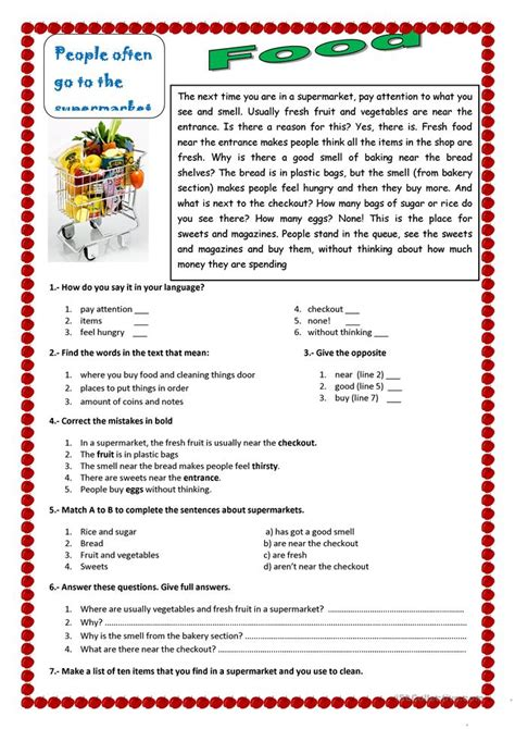 reading exercises for elementary school food worksheet free esl printable worksheets made by