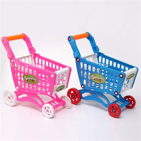 small toy mini shopping cart with full grocery food toy fun prentend