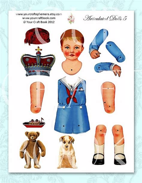 vintage paper doll digitial download by yourcraftephemera pin by halina kaminski on dolls paper articulated