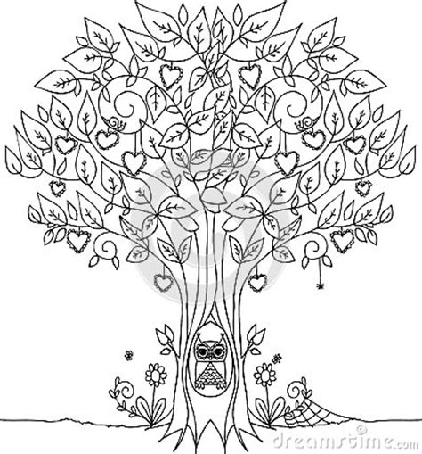 heart tree coloring page love tree with owl stock illustration image 53825020
