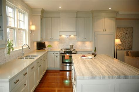 Tile Under Kitchen Cabinets by Under Cabinet Microwave Kitchen Contemporary With White