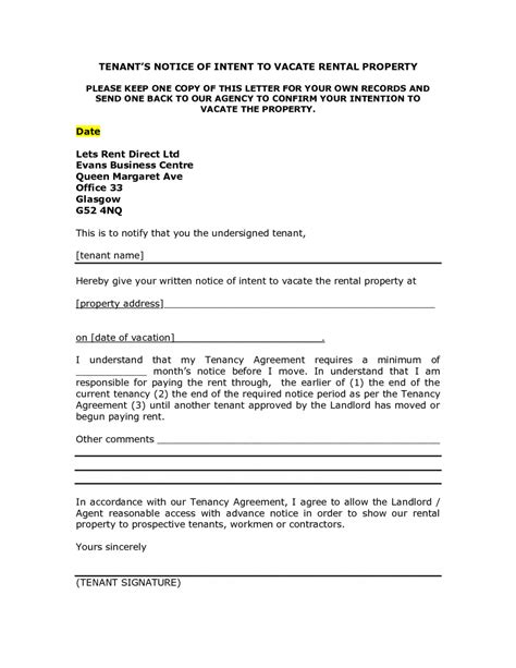 Landlord Notice Letter To Tenant Template Exles Letter Cover Templates Template For Notice To Vacate From Landlord