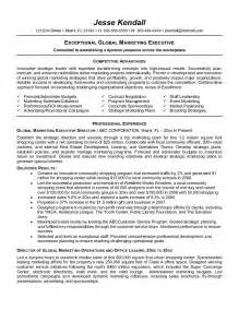sle executive resume format exceptional global marketing executive resume sles
