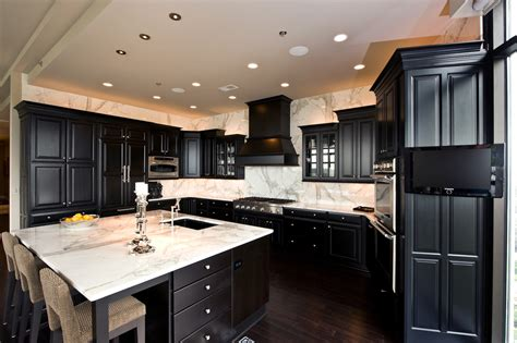 Black Cabinets Kitchen View Calacatta Gold Marble Countertop