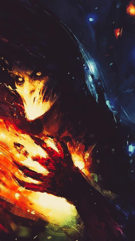 wallpaper dark fire  art