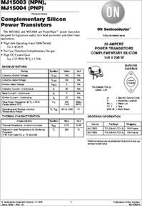 transistor mj15003 datasheet mj15003 datasheet power 20a 140v discrete npn package