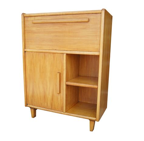 Vintage Bleached Wood Danish Style Secretary Desk   eBay