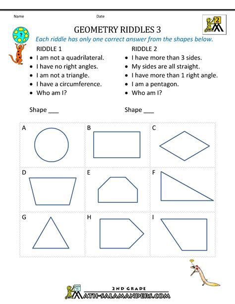 Printable Geometry Worksheets by Free Geometry Worksheets 2nd Grade Geometry Riddles