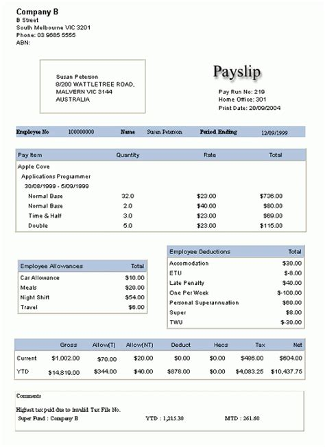 10 Payslip Templates Word Excel Pdf Formats Employee Payslip Template