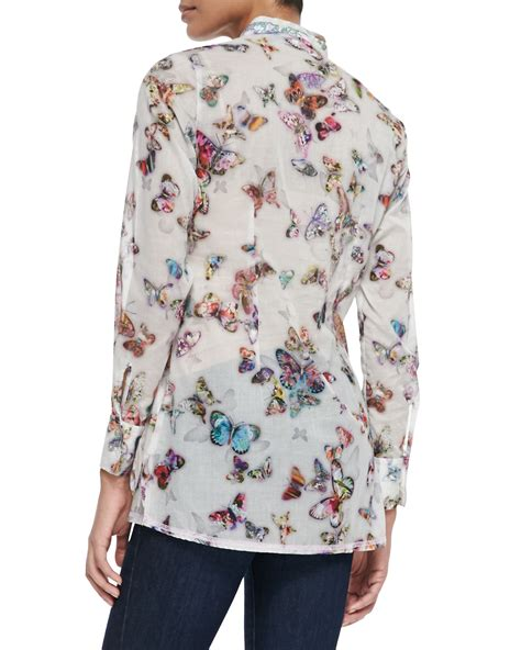 Buterfly Blouse georg roth los angeles sleeve butterfly print blouse lyst