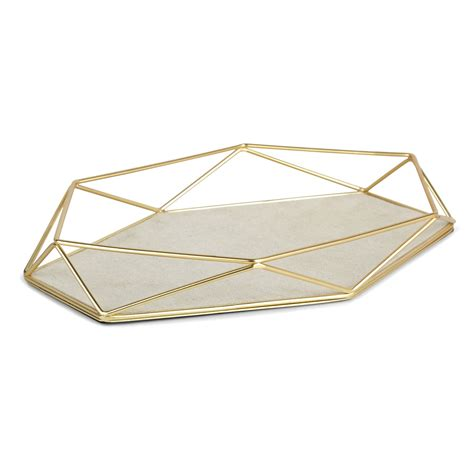 Double Shower Curtain Rings Prisma Jewelry Tray Matte Brass Umbra