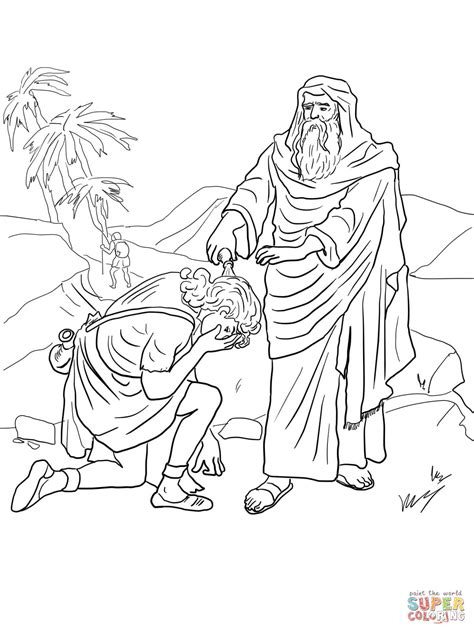 coloring pages about king david samuel anoints david as king coloring page free