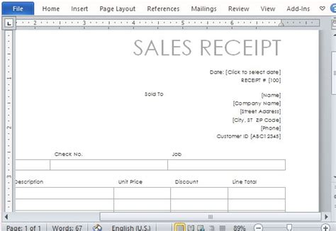 create a receipt template one page sales receipt form template for word