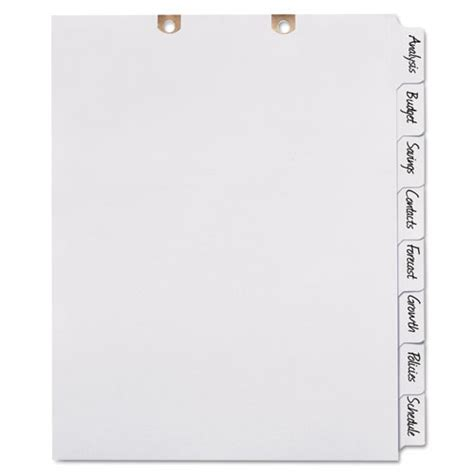 avery 8 tab template avery big tab write on classification folder dividers 8