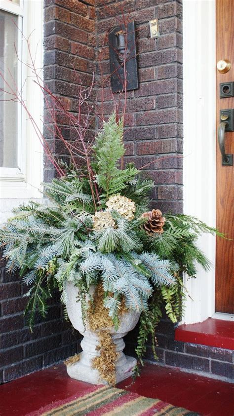 images of christmas urns fresh greens for front porch urns christmas pinterest