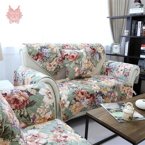 Print Slipcovers aliexpress buy american style green pink floral print quilting sofa cover 100 cotton