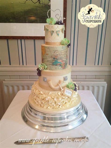 hochzeitstorte reisen vintage travel inspired wedding cake cake decorating