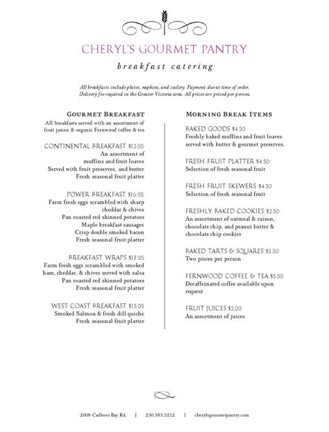 The Pantry New Menu by Breakfasts Lunches Cheryl S Gourmet Pantry Catering