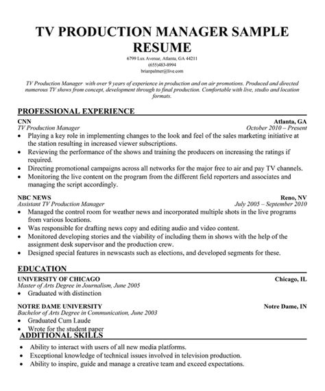 Television Production Manager Cover Letter by Tv Production Manager Cover Letter Production Tv Production Manager Cover Letter