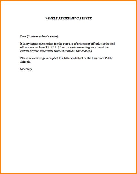 sle formal notice letter retirement notice letter template 28 images sle of