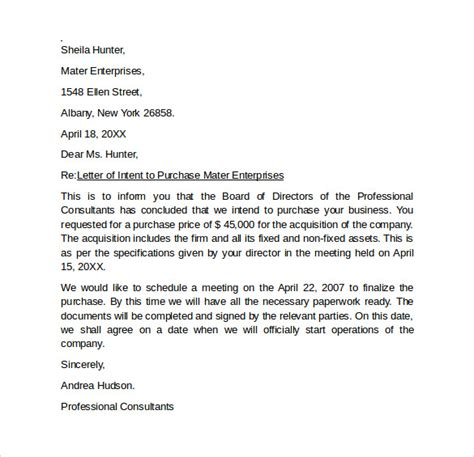 letter of intent to purchase business template free letter of intent to purchase business 8 free sles