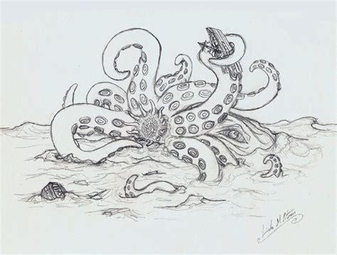 kraken outline sketch by sheblackdragon on deviantart