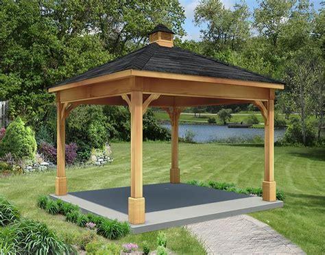 rough cut cedar single roof open rectangle gazebos