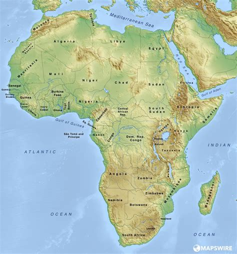 map of africa free physical maps of africa mapswire