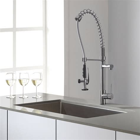 kraus commercial pre rinse chrome kitchen faucet kraus kpf 1602 chrome kitchen faucet with single lever